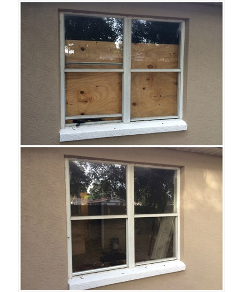 Broken Window Replacement anfter Board Up