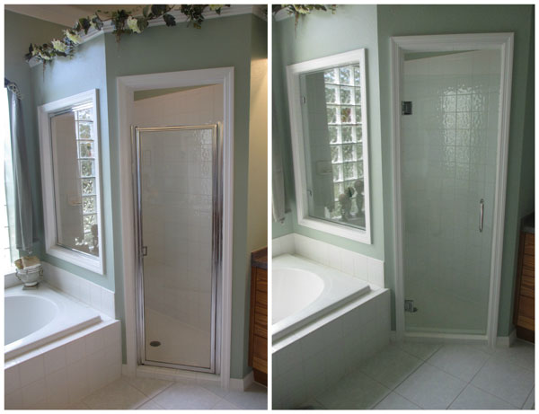 Upgraded Glass Shower Door Before and After